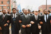 Martin Luther King leading march from Selma to Montgomery to protest lack of voting rights for African Americans. Beside King is John Lewis, Reverend Jesse Douglas, James Forman and Ralph Abernathy.