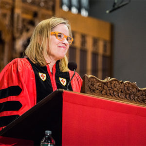 Mayor of San Juan, Puerto Rico, Carmen Yulín Cruz Soto delivers the Baccalaureate Address at Marsh Chapel as part of Boston University's 145th Commencement.