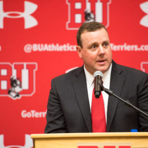"""I wish the season started tomorrow,"" Albie O'Connell said while being introduced as BU hockey's new men's head coach at a press conference at Agganis Arena on Wednesday. Photo by Cydney Scott"
