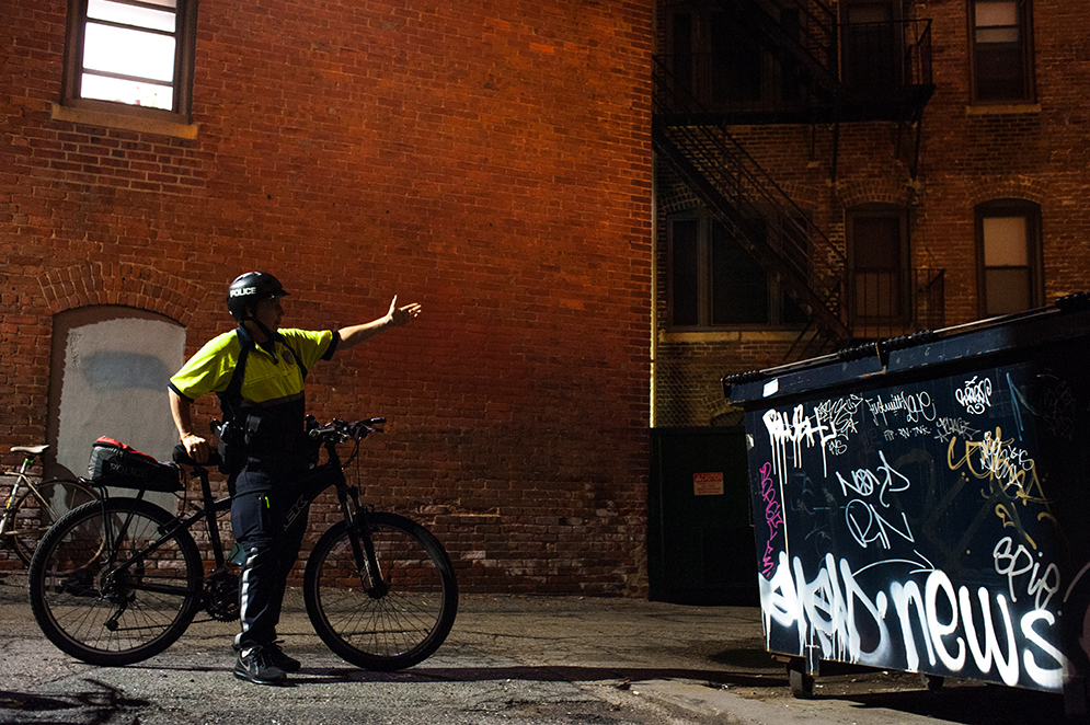 Graffiti taggers have covered a dumpster in the Fenway area with tags like X-Pils, Blush, and Why, just to make their mark.