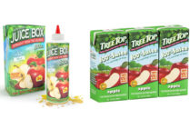 Composite image showing liquid nicotine vape juice packaging that looks like a child's juice box compared to actual apple juice juice boxes.