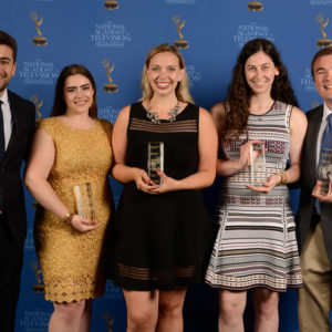 Accepting the award for best student sports program (BUTV10's Offsides) were panelist Michael Alcaraz (COM'18, CAS'18) (from left); producer, director, and editor Marissa Dianas (COM'19); producer Jane Rose (COM'18); cohost Jessica Citronberg (COM'18); and producer Nick Neville (COM'18). Photo courtesy of the National Academy of Television Arts & Sciences (NATAS), Boston/New England Chapter