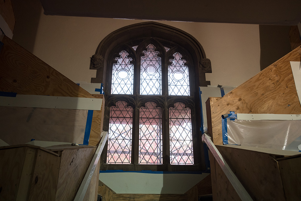 This is one of the building's centerpiece windows, which is being restored in place.