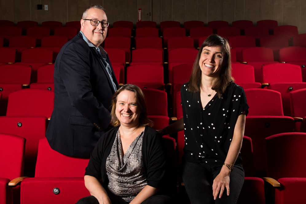 Keith Orr (from left) is Wheelock Family Theatre's administrative director, Jeri Hammond its educational director, and Emily Ranii its artistic director.