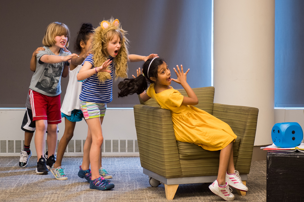 Sahnvi Rudra, 7 (right), and other participants in Wheelock Family Theatre's summer program