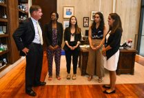 Boston Mayor Martin Walsh (from left) with BU City Scholars Summer Fellows Sophia Dorsainvil-Johnson (Wheelock'20), Mandy Yao (Sargent'20), Yasly Landestoy (Sargent'20), and Karina Ferzoco (Questrom'20). The four spent the summer working as interns at City Hall, paid by BU's Office of Government and Community Affairs. Not in photo: John O'Brien (CAS'19) and Tatyana Fonseca (CAS'20). Photo courtesy of city of Boston