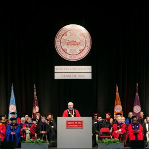 Sunday's Matriculation was ceremonious: faculty and administrators donned academic dress, banners representing BU's undergraduate schools and colleges were on display, and President Robert A. Brown wore his presidential doctoral gown and formal President's Collar and carried the academic mace.