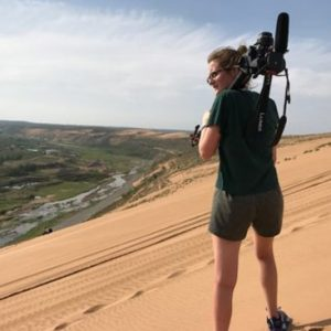 Brianna Burns (CGS'17, COM'19) on the dunes in Mongolia
