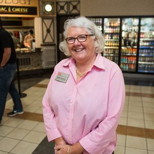 Barbara Laverdiere, retired BU Dining Services director, poses for a portrait in the George Sherman Union food court at Boston University.