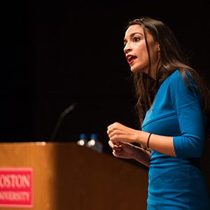 American politician Alexandria Ocasio-Cortez, 2018 Democratic candidate for the House of Representatives from New York's 14th Congressional District, speaks to a crowd at Boston University on October 2, 2018.
