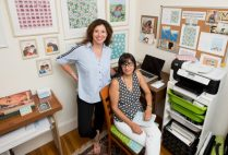 Jen Ramella (COM'95) (left) and Annika Sarin (CAS'95) founders of the eco-friendly stationary company, Me You Paper