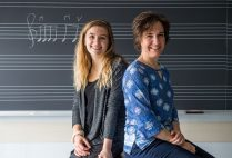 Madeline Bucci (CFA'19,'20) (left) researched a teaching method that stresses respect rather than aptitude, mentored by Karin Hendricks, a CFA assistant professor of music. Photo by Cydney Scott