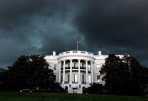The white house against a stormy sky