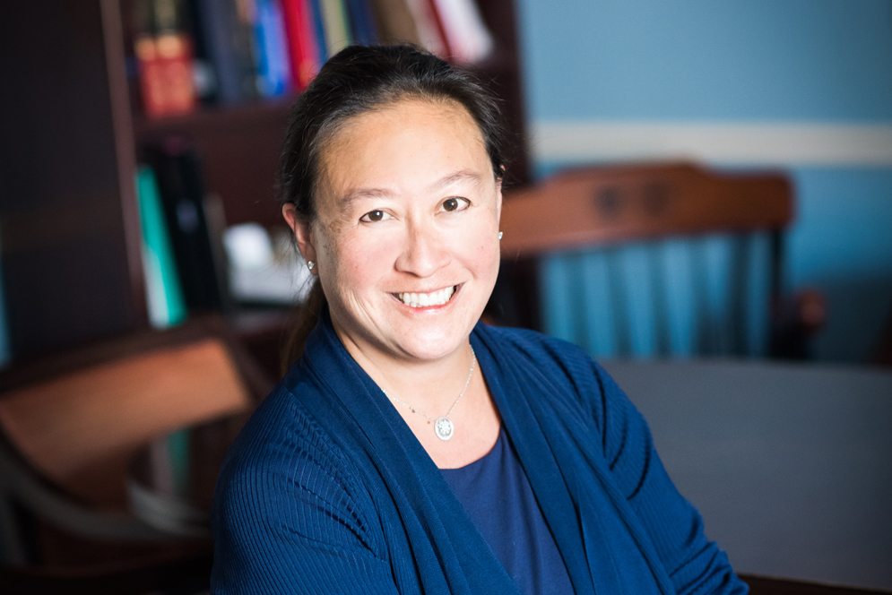 Portrait of Jennifer Tseng, Boston Medical Center's surgeon-in-chief, sitting chair in her office