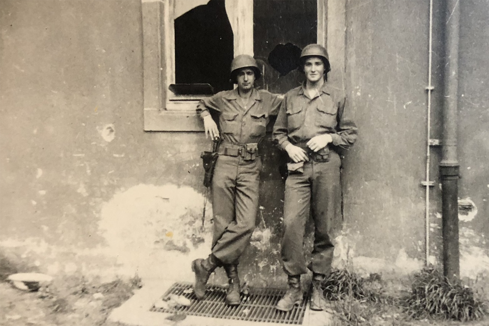 John Waller, right, and an unidentified comrade in war-torn France, early 1945.
