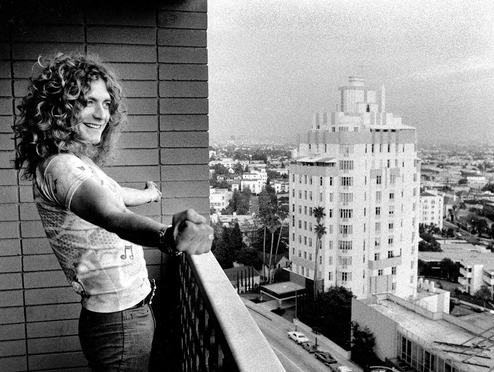 e of Peter Simon's iconic images: Led Zeppelin lead singer Robert Plant savoring the view from a hotel balcony above Sunset Boulevard.
