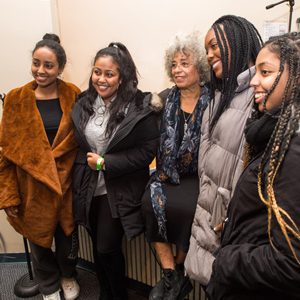 Angela Davis, activist, academic and author took time to chat with students and pose for photos with them, including Feven Solomon (CAS'21), from left, Kalkidan Tewodros (Questrom'21), Davis, Grace Mecha (SAR'21), and Zanta Ephrem (SAR'21) after speaking to a full crowd in Jacob Sleeper Auditorium February 9, 2019. The event, entitled Angela Davis: Violence Against Women and Its Ongoing Challenge to Racism! was made possible by The Boston University Undergraduate Sociology Association.