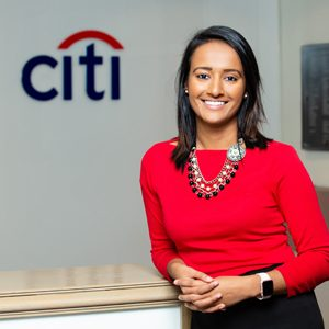A portrait of Jalpa Bhavsar at Citi Bank