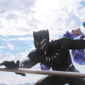 Black Panther in his titular movie, fighting off helicopters
