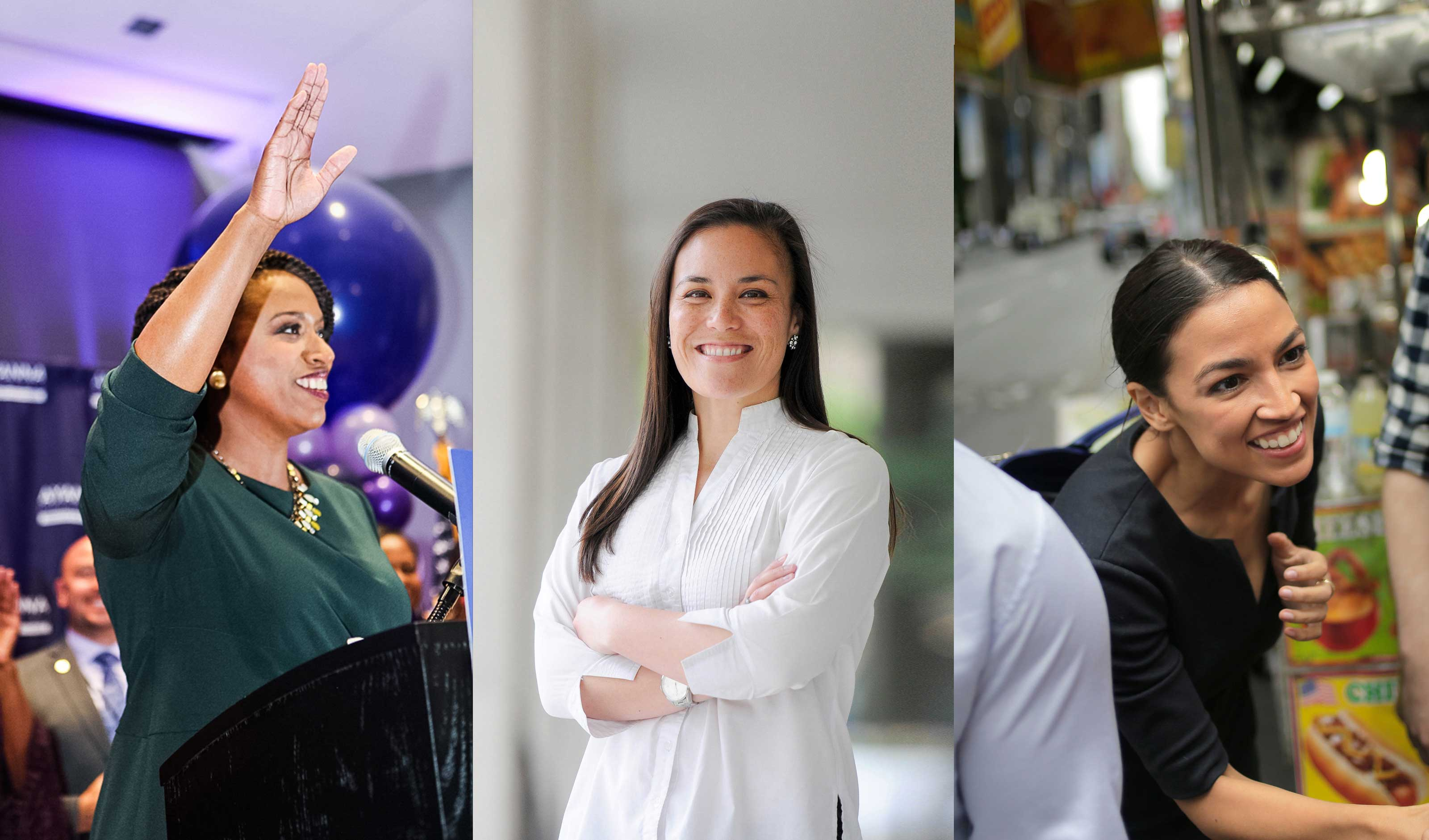 Ayanna Pressley (left), Gina Ortiz Jones (middle), and Alexandria Ocasio-Cortez (right)