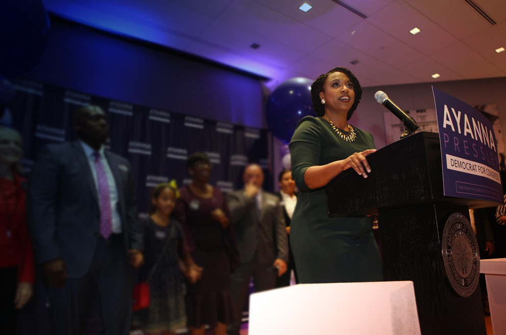 Ayanna Pressley, 2018 midterms candidate represent Massachusetts in the House of Representatives, speaks at the podium during her Democratic Primary election night party.