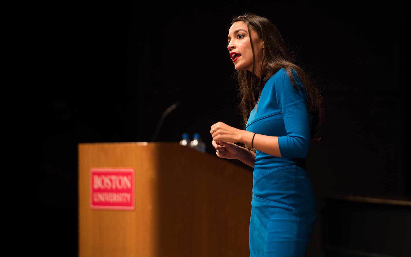 2018 midterms candidate from New York, Alexandria Ocasio-Cortez, speaks to a crowded auditorium at her alma mater Boston University.