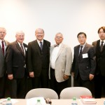 Professor Peter Luff Albert; Professor Steve Ellenwood; University President Osamu Nakayama; Dean Hardin Coleman; Professor Shujiro Mizuno; Mr. Norikazu Furukama, University Alumnus; Photo Credit: Shannon Power