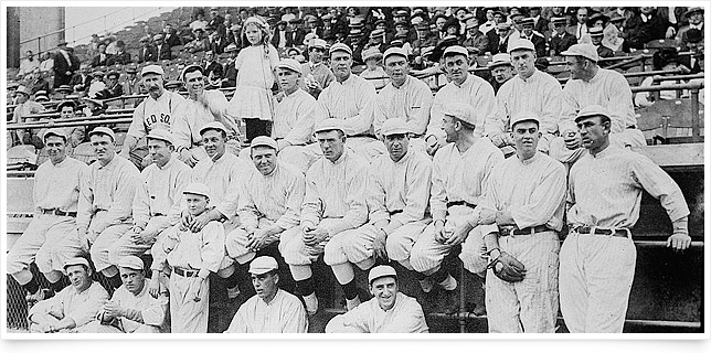 The 1912 Boston Red Sox included Tris Speaker (top row, second from left), a Protestant who reportedly feuded with Catholic teammate Duffy Lewis (top row, far right). Photo courtesy of Library of Congress, Prints & Photographs Division.