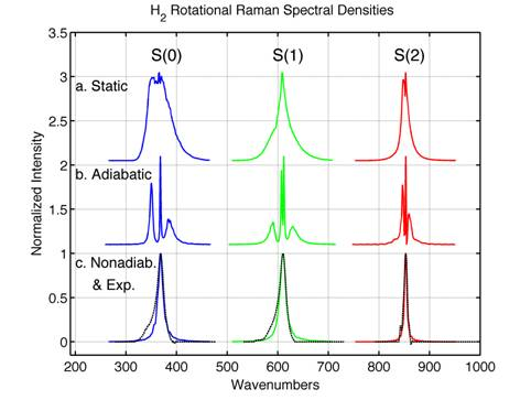 Fourier transform of calculated and experimental optical heterodyne detected H2 rotational Raman resonances in SC CO2.