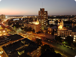 Boston University's Charles River campus at night