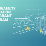 "Light blue graphic for the ""Sustainability Innovation Seed Grant Program"" hosted by Boston University Sustainability and Innovate@BU. The graphic has a hand-drawn style and depicts a building, a cyclists, and people in yellow observing a raised bed garden."