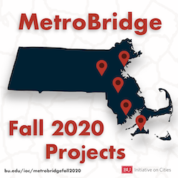 Map of municipalities in Massachusetts with MetroBridge projects in Fall 2020
