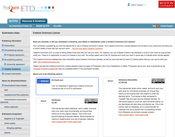 ETD Administrator: Screen 6: Creative Commons License
