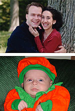 Craig  Staub with his wife Stacey (top) and his daughter Juliette (bottom),  born 11 days after her father's tragic death
