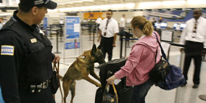 Airport security officer stops to let dog sniff luggage (pic: courtesy of USA Today)