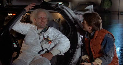 Doc, Marty and the DeLorean in Back to the Future