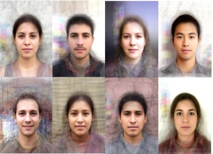 Prototypical faces, such as these composites, elicit higher ratings of attractiveness because they are easier for the brain to process, researchers say. (Photos courtesy of Mike Mike)