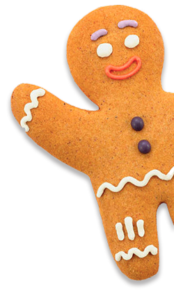 gingerbread man peeking from the corner