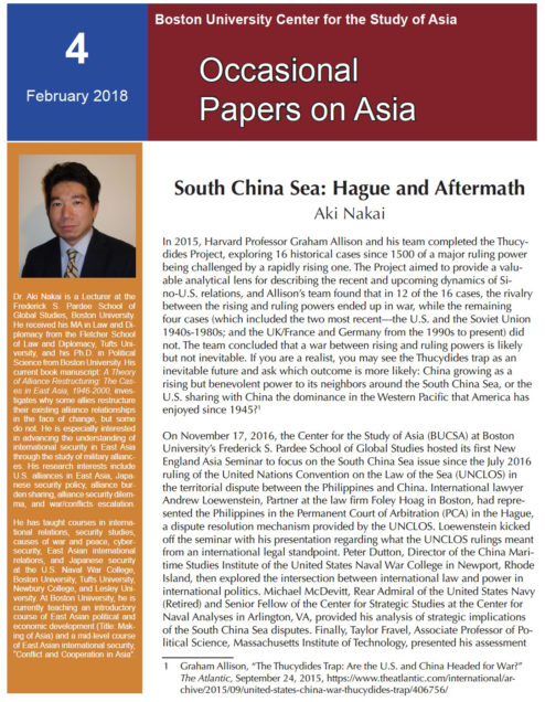 Nakai, Occas Papers on Asia 4 Hague and Aftermath cover