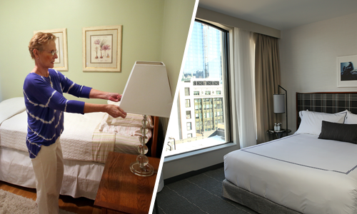 Left: Boston-area Airbnb hosts prepares her spare room for rent Right: A suite at the Godfrey Hotel, a recent addition to Boston's hotel offerings. Photo Sources: Getty Images