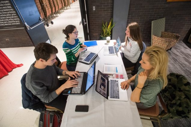 Members of the Shed's Barbecue student team holding a working session in a quiet corner of the GSU: James Marinier (from left), Maite Erana Salmeron, Kelly Mathews, and Amy Dugan. Photo by Cydney Scott