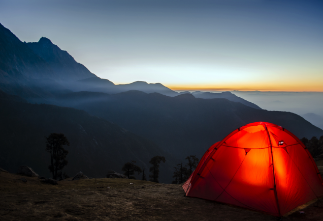 A tent overlooking mountains