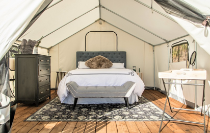 An inside look at a fancy glamping tent