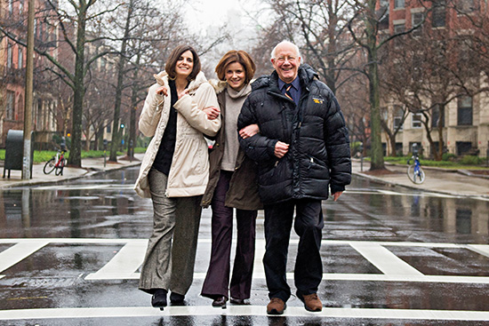 Lisa Nemrow, Julie Nemrow, and Christopher Ricks walk down Bay State Road