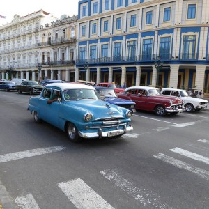 Street in Cuba with classic cars