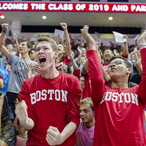 Jon Winkler (left) (ENG 19) and Rohin Banerji (ENG 19) cheer as their class is introduced during The Class of 2019 Matriculation ceremony on Sunday, August 30, 2015  Photo By Jackie Ricciardi for Boston University Photography