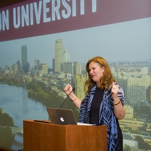 "Nicole Hurd, Founder and CEO of College Advising Corps announces that BU is becoming a ""partner university"" to the College Advising Corps September 28, 2015 at the Sherry and Alan Leventhal Center"