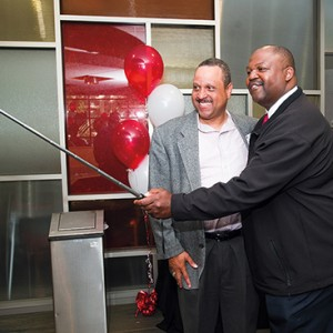 Albert James (ENG'85, Questrom'95) (left) and Terry Anthony (ENG'86) snap a selfie