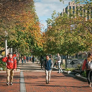Boston University students walking on the Charles River Campus