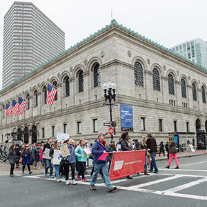 BU Medical Campus protesters marching past Boston Public Library